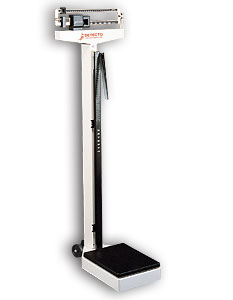 Detecto 438 Doctors office scale with height rod wheels